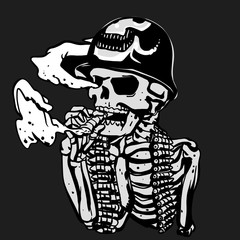 Military skeleton illustration - Soldier skull