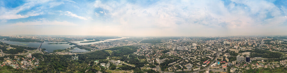 Aerial view 360 degrees panorama of Kiev above the National Botanical Garden named after M.M. Grishka.