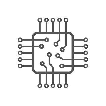 Microchip icon. CPU and GPU icon. Processor icon