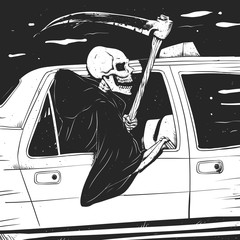 Passenger taxi grim - black and white - gothic reaper