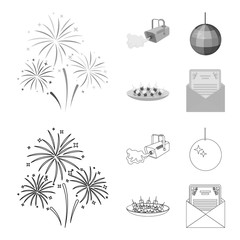 A video camera with smoke, a twirling holiday ball, a plate of sandwiches, an envelope with a greeting card. Event services set collection icons in outline,monochrome style vector symbol stock