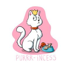 Purr-incess - cat cartoon - funny cats