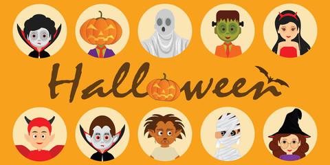 Set of Halloween cartoon characters icons.