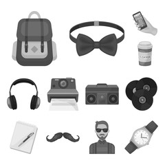 Style Hipster monochrome icons in set collection for design. Hipster Attributes and accessories vector symbol stock web illustration.