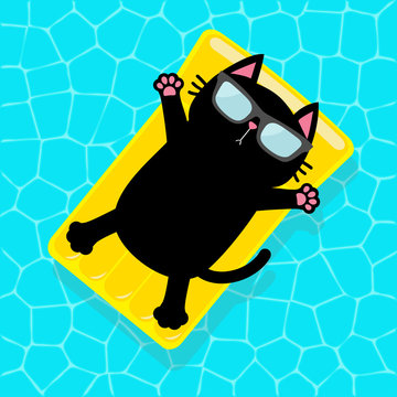 Swimming pool. Black cat floating on yellow pool float water mattress. Top air view. Hello Summer. Sunglasses. Lifebuoy. Cute cartoon relaxing character. Flat design.