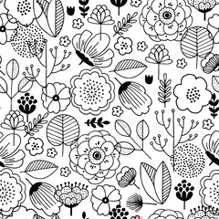 Cute flower seamless pattern. Linear graphic. florals background. Scandinavian style. Vector illustration