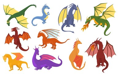 Dragon cartoon vector cute dragonfly dino character baby dinosaur for kids fairytale dino illustration childish set isolated on white background