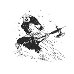 Skull knight in the snow - black and white - medieval grim reaper