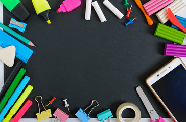 Back to school, education concept. School supplies. Copy space. The top view. Flat lay.