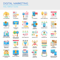Digital Marketing , Thin Line and Pixel Perfect Icons.