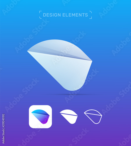 Origami paper airplane wing logo template concept  3d, Flat and line