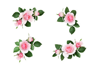 Set of small floral corner arrangements with pink rose flowers and green leaves