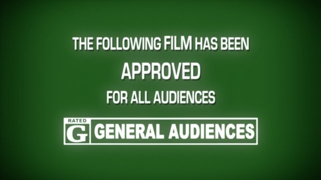 A fake spoof retro vintage aged film leader for a movie reel: approved, rating G (general audiences).