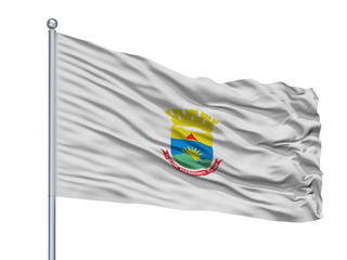 Belo Horizonte City Flag On Flagpole, Country Brasil, Minas Gerais, Isolated On White Background