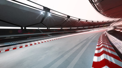 curved race track with speed motin blur