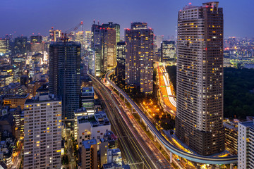 Wall Mural - Tokyo cityscape and traffic at night.