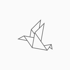 origami paper bird icon