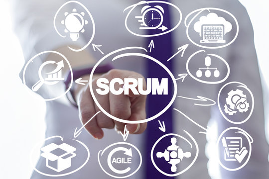 Businessman clicks a scrum word button on a virtual panel. Scrum Development Process Business concept. Scheme of Agile Methodology.