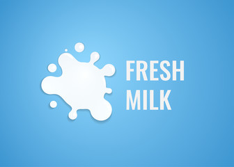 Milk Logo with White Splash of Milk. Vector Emblem Illustration for Dairy Farm with Natural Fresh Product.