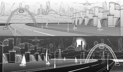 City infrastructure industrial and energy illustration panoramic. Hydro power plant. River Dam. Illuminated highway. White and black lines on light and daerk background. Vector design art