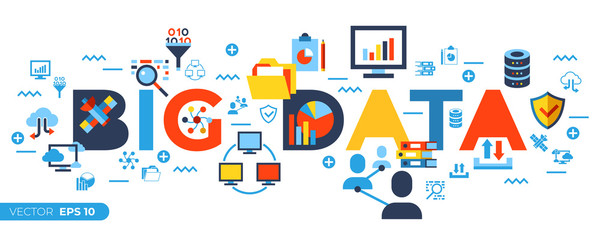 Digital vector big data icons set