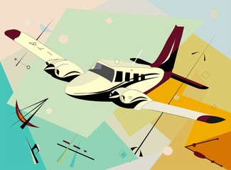 abstract colorful background with airplane in flight