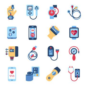 Digital vector health sensor icons set