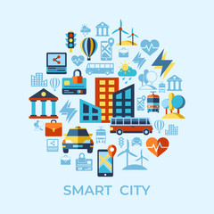 Digital vector smart city icons set