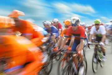 Foto op Aluminium Fietsen Group of cyclist during a race, motion blur