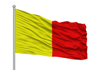 Orleans City Flag On Flagpole, Country France, Isolated On White Background