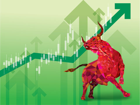 Bullish symbols on stock market vector illustration. vector Forex or commodity charts, on abstract background. The symbol of the the bull. The growing  market.