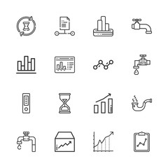 Collection of 16 flow outline icons