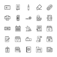 Collection of 25 paper outline icons