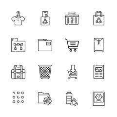 Collection of 16 empty outline icons