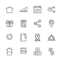 Collection of 16 square outline icons