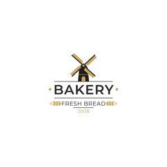 The bakery logo with spikelet and mill. Bread and baking emblem. Bakery logo in modern style. Mill with grain silhouettes