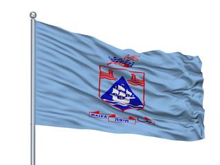 Haifa City Flag On Flagpole, Country Israel, Isolated On White Background