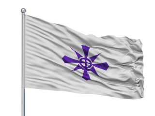 Handa City Flag On Flagpole, Country Japan, Aichi Prefecture, Isolated On White Background