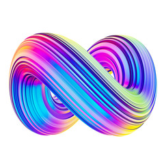 Holographic abstract mobius twisted shape design element
