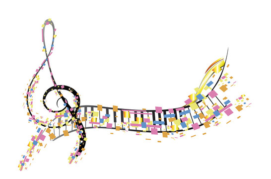 Abstract treble clef decorated with colorful splashes, notes. Hand drawn vector illustration.