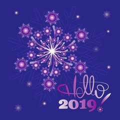 New Year's snow fireworks. Hello, 2019! Design to design banner, poster, greeting cards.