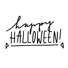 Vector hand lettering Happy Halloween. Modern brush calligraphy isolated on white background for Halloween greeting cards and design.