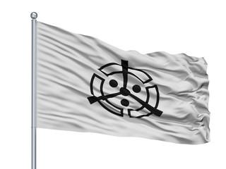 Nakatsu City Flag On Flagpole, Country Japan, Oita Prefecture, Isolated On White Background