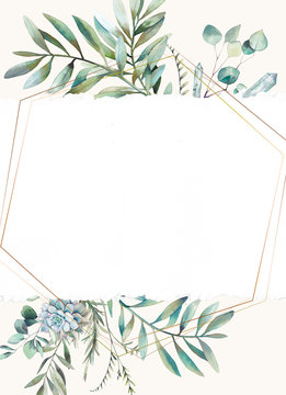 Eucalyptus floral frame. Hand drawn watercolor card design with greenery, fern leaves, succulent, crystals and paper texture. Greeting or wedding template.