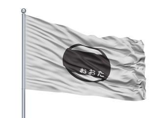 Ota City Flag On Flagpole, Country Japan, Gunma Prefecture, Isolated On White Background