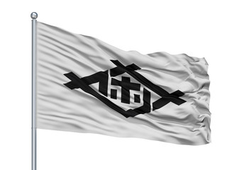 Sasebo City Flag On Flagpole, Country Japan, Nagasaki Prefecture, Isolated On White Background