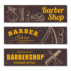 Barbershop business banner set isolated from background
