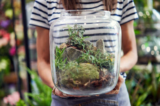 Midsection of florist holding jar terrarium in her shop