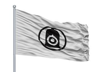 Shiroishi City Flag On Flagpole, Country Japan, Miyagi Prefecture, Isolated On White Background