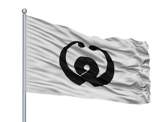 Susaki City Flag On Flagpole, Country Japan, Kochi Prefecture, Isolated On White Background